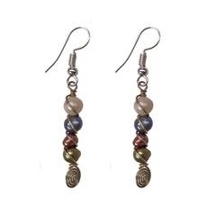 Unique Batik Spiral Pearl Earrings