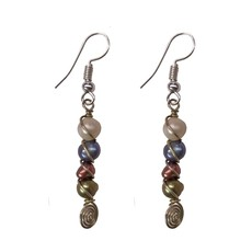 Unique Batik Spiral Pearl Earrings