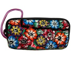Unique Batik Ikat and Embroidered Flower Clutch with Strap