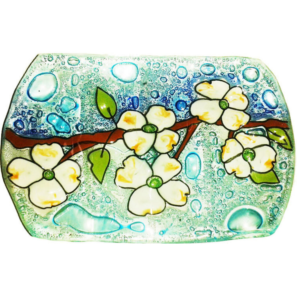 PamPeana Dogwood Fused Glass Soap Dish