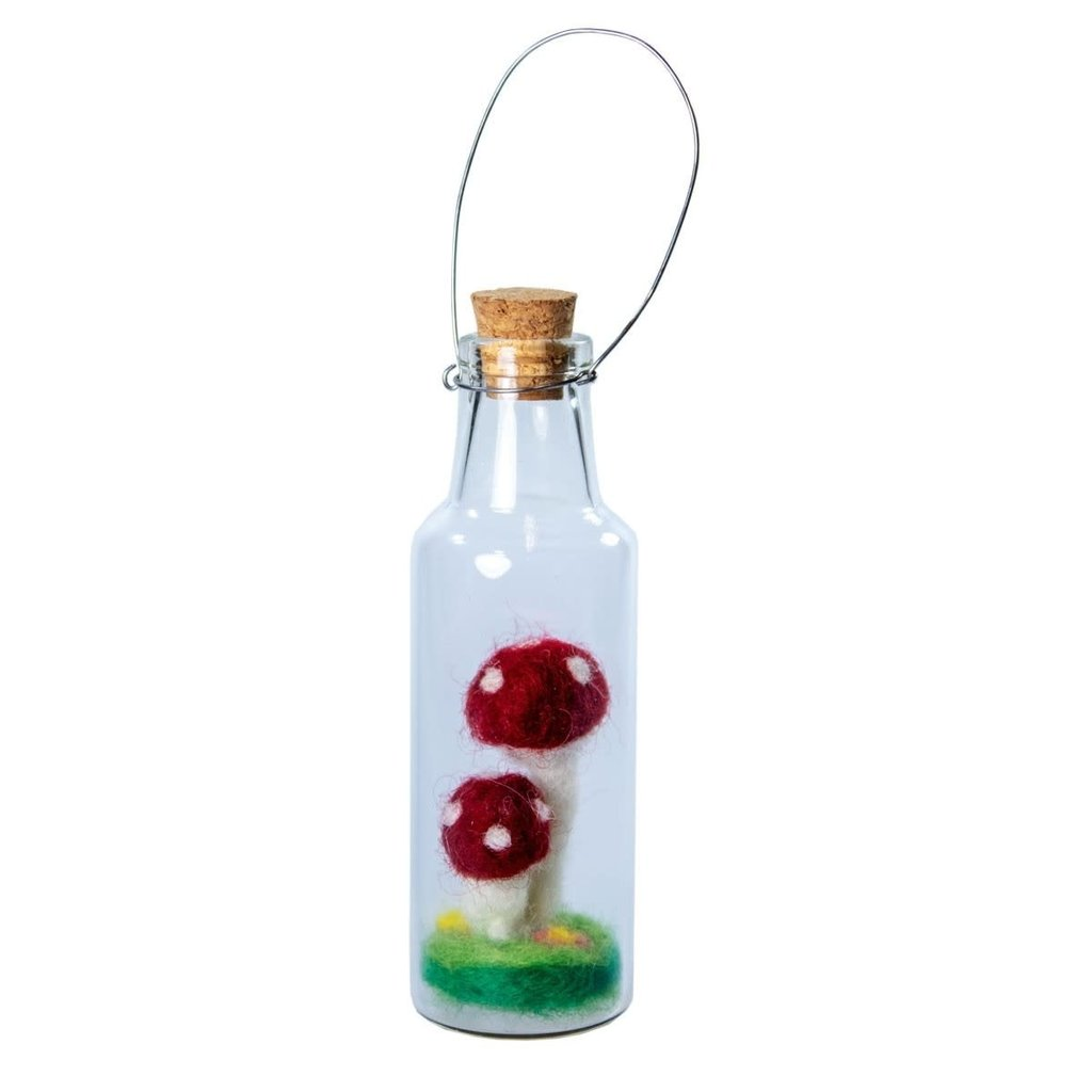 DZI Handmade Double Fairy Mushroom Mini Bottle Ornament