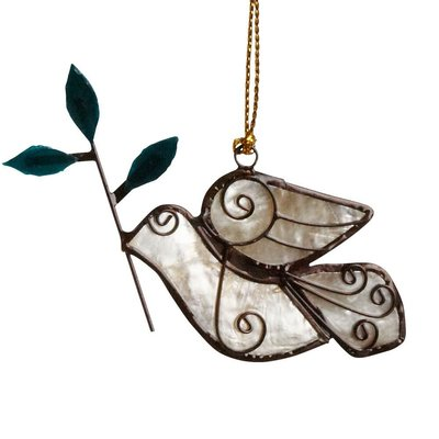 Ten Thousand Villages Dove with Olive Branch Capiz Ornament