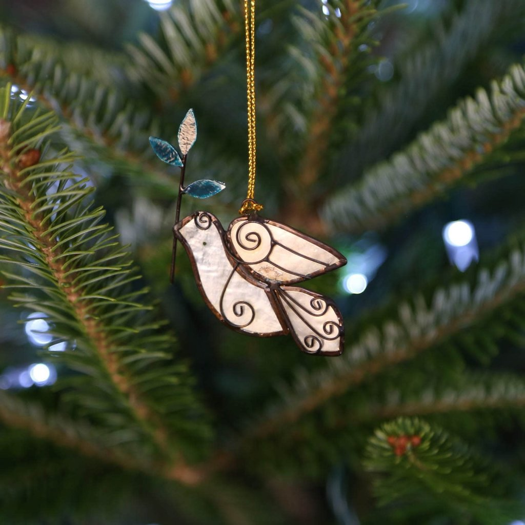 Ten Thousand Villages Dove with Olive Branch Ornament