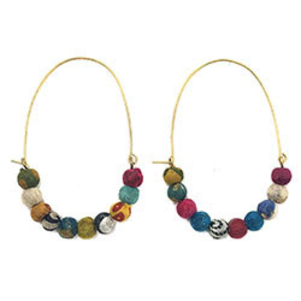 World Finds Elongated Kantha Hoop Earrings
