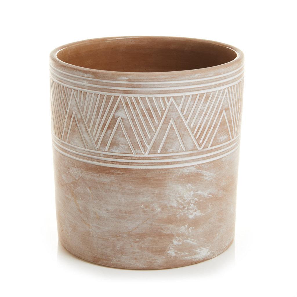 Serrv Etched Terra Cotta Cylinder Planter - Large