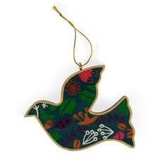 Ten Thousand Villages Floral Painted Wood Dove Ornament