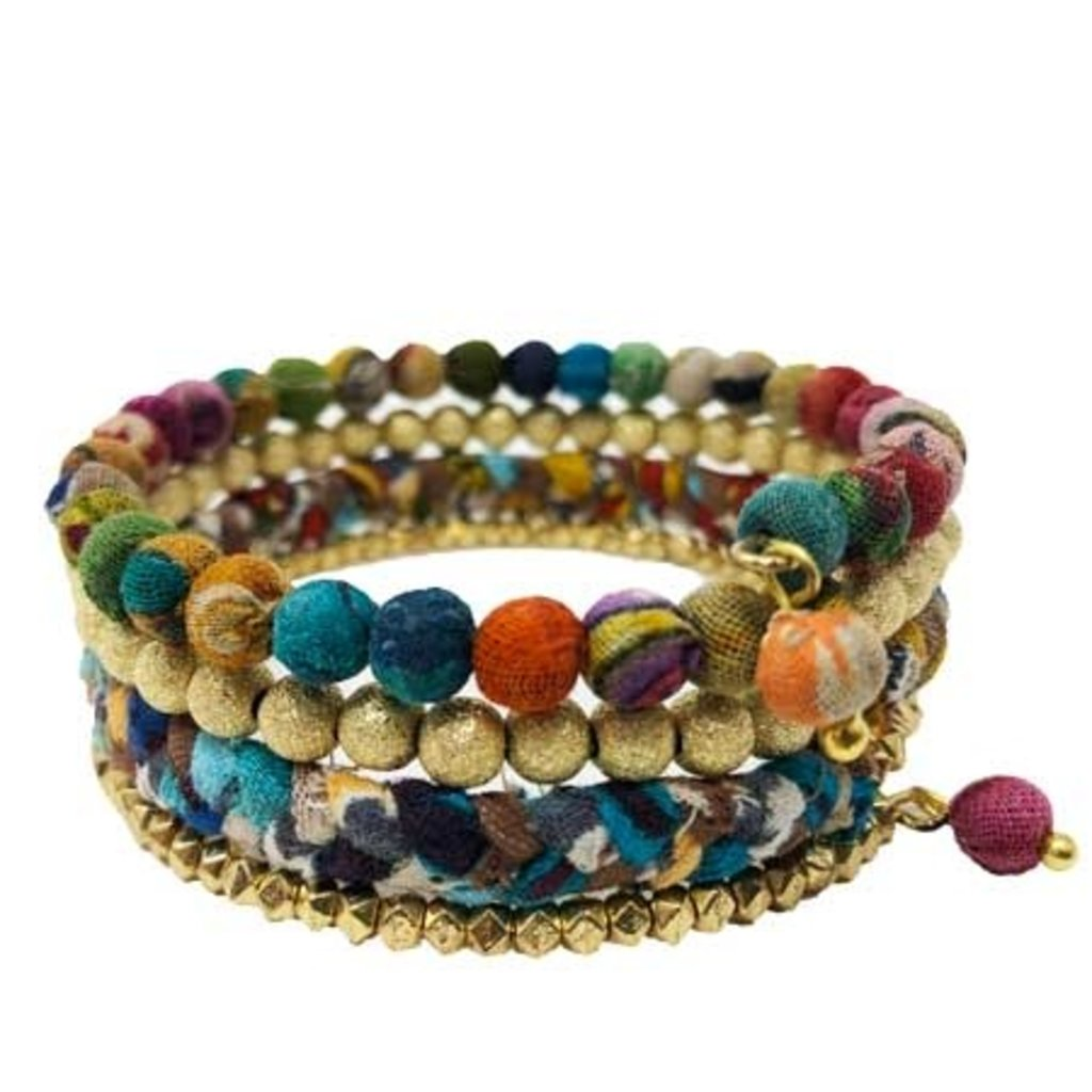 World Finds Glimmer Kantha Spiral Bracelet