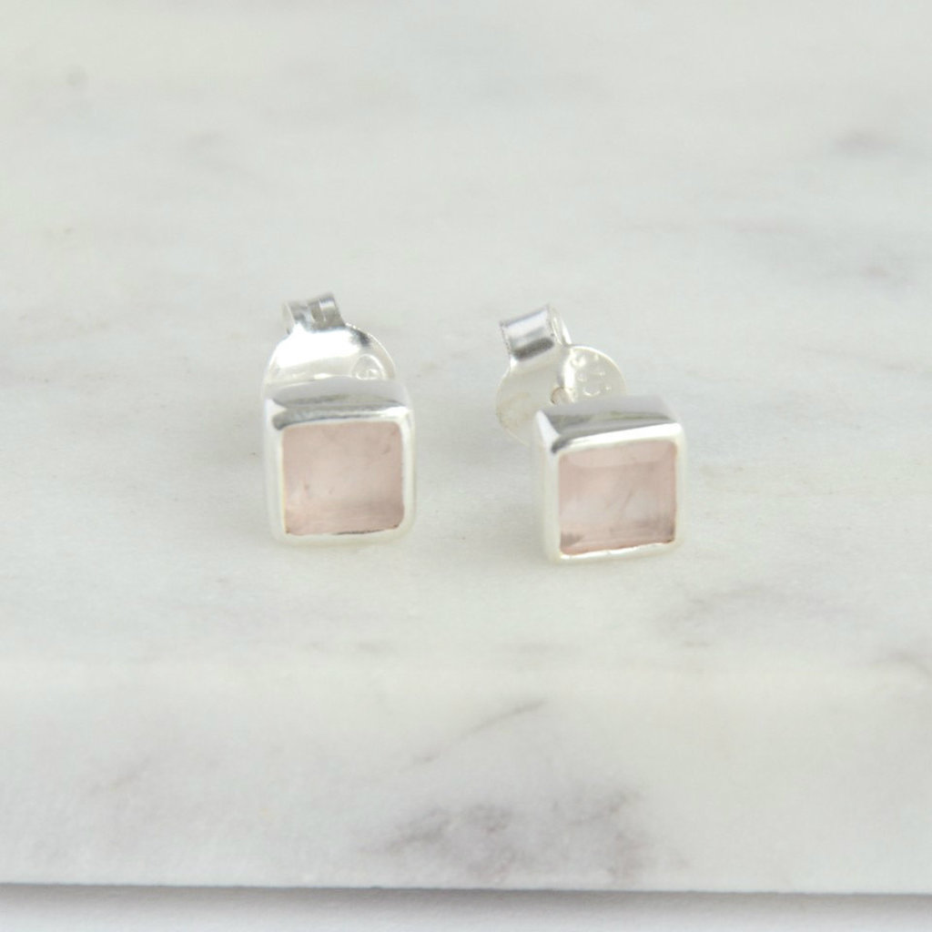 Fair Anita Rose Quartz and Sterling Silver Crystal Waters Studs