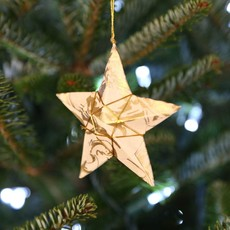 Ten Thousand Villages Gold and Cream Paper Star Ornament