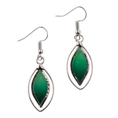 Ten Thousand Villages Green Leaf Capiz Shell Earrings