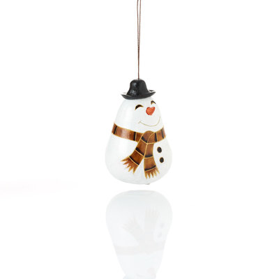 Serrv Happy Snowman Gourd Ornament