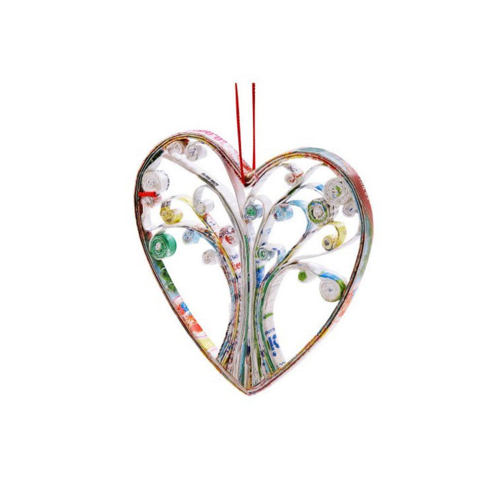 Ten Thousand Villages Heart Tree Paper Ornament
