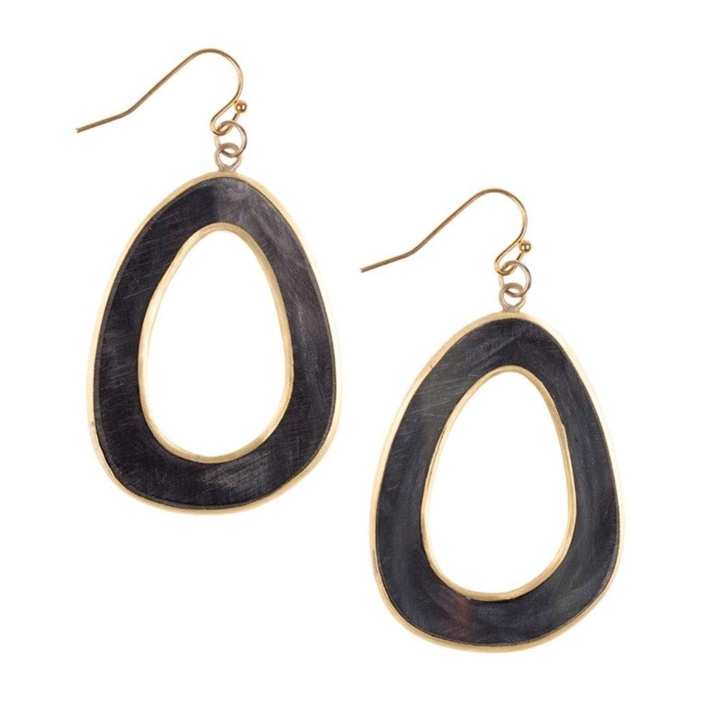 Fair Trade Winds Jakarta Dark Horn & Brass Earrings