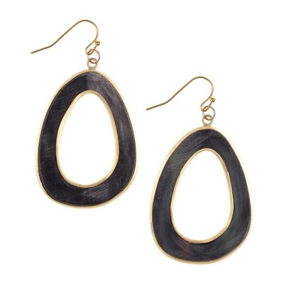Fair Trade Winds Jakarta Dark Horn & Brass Earrings