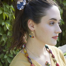 World Finds Kantha Petite Gilded Hoop Earrings