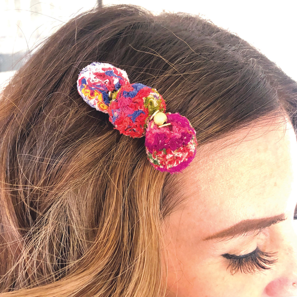 World Finds Kantha Pom Pom Hair Pin