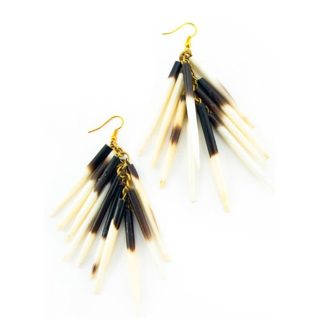 Swahili Imports Kenyan Porcupine Quill Earrings