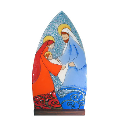 PamPeana Large Joseph Nativity Fused Glass Tealight