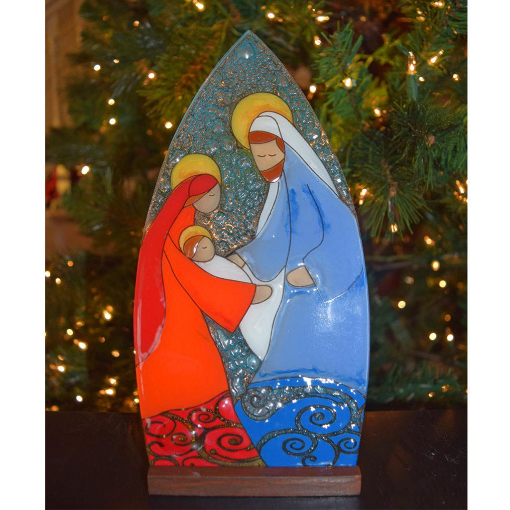 PamPeana Large Joseph Nativity Fused Glass Tealight