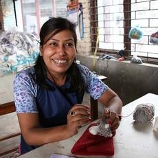 Ten Thousand Villages Library Cat Felt Wool Ornament