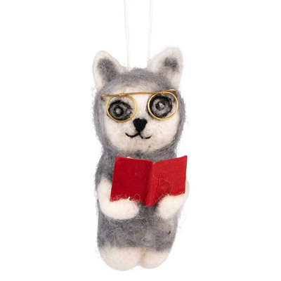 Ten Thousand Villages Library Cat Felt Wool Ornament