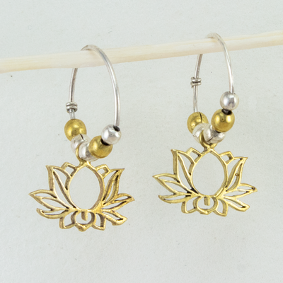 DZI Handmade Lotus Mini Hoop Earrings