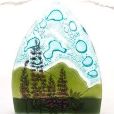 PamPeana Lupine Flowers Fused Glass Night Light