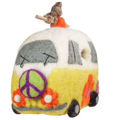DZI Handmade Magic Bus Wool Felt Birdhouse