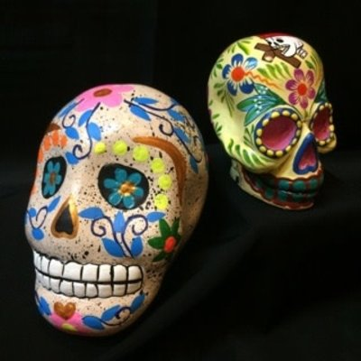 Inter-American Trading Medium Painted Skull Day of the Dead Calaca