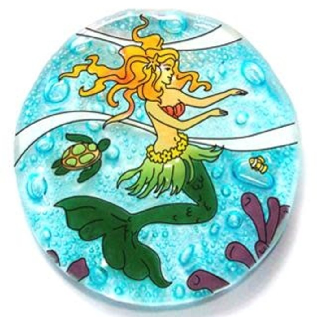 PamPeana Mermaid Fused Glass Ornament