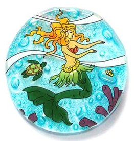 PamPeana Mermaid Fused Glass Ornament