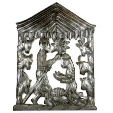 Global Crafts Metal Oil Drum Nativity with Animals
