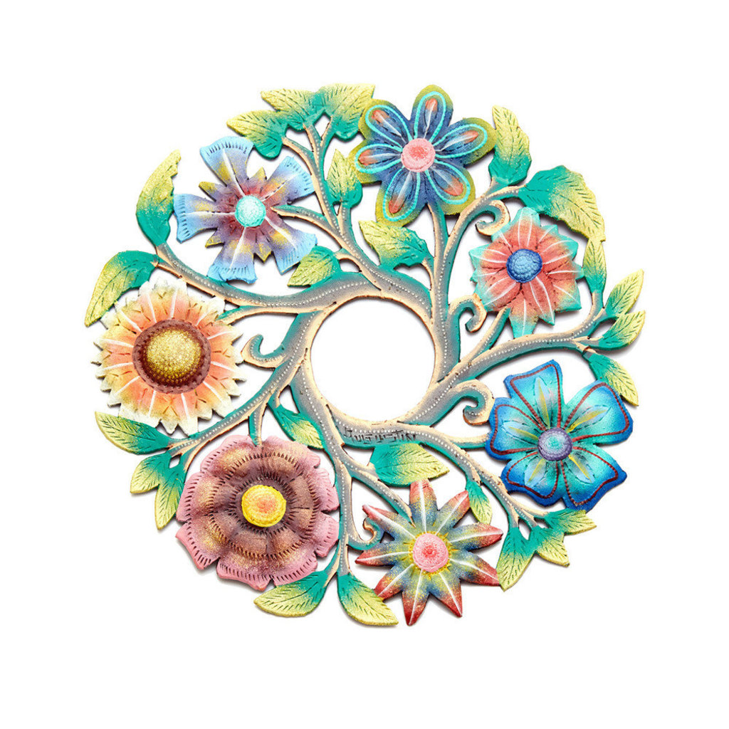 Serrv Painted Flower Wreath Drum Art