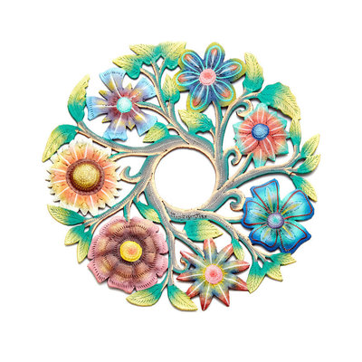 Serrv Painted Flower Wreath Drum Art