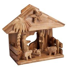 Ten Thousand Villages Music Box Olive Wood Nativity