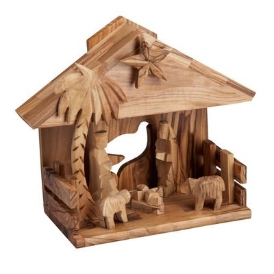 Ten Thousand Villages Music Box Olive Wood Nativity