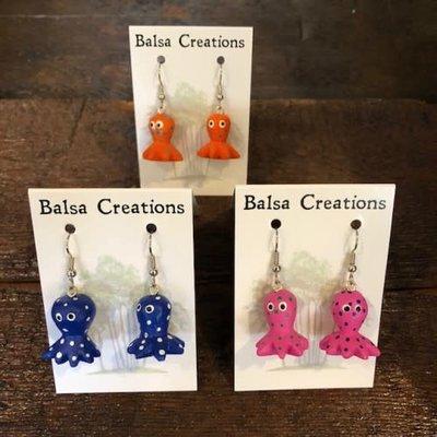 Women of the Cloud Forest Octopus Balsa Earrings