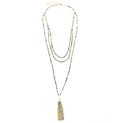 World Finds Ombre Metallic Tassel Necklace