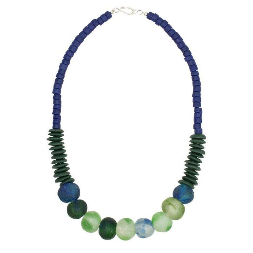 Global Mamas Open Seas Blue Recycled Glass Necklace