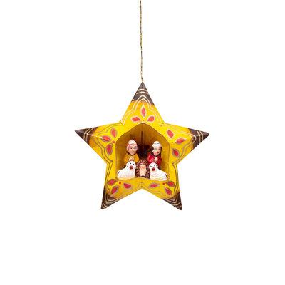 Ten Thousand Villages Paper Star Nativity Retablo Ornament