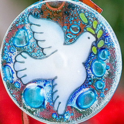 PamPeana Peace Dove Fused Glass Ornament