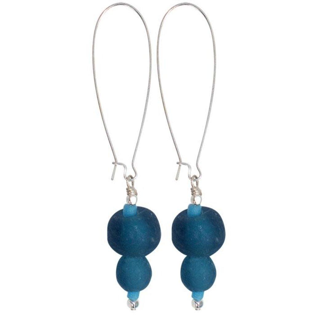 Global Mamas Pearl Dangle Recycled Glass Earrings - Ocean
