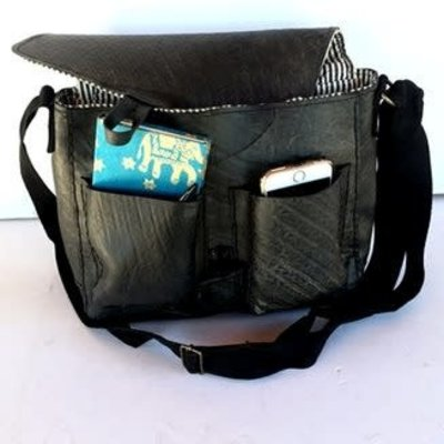 Ganesh Himal Double Pocket Recycled Tire Messenger Bag