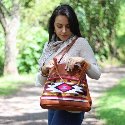 Minga Imports Victoria Leather & Wool Bag