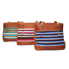 Minga Imports Victoria Leather & Wool Bag
