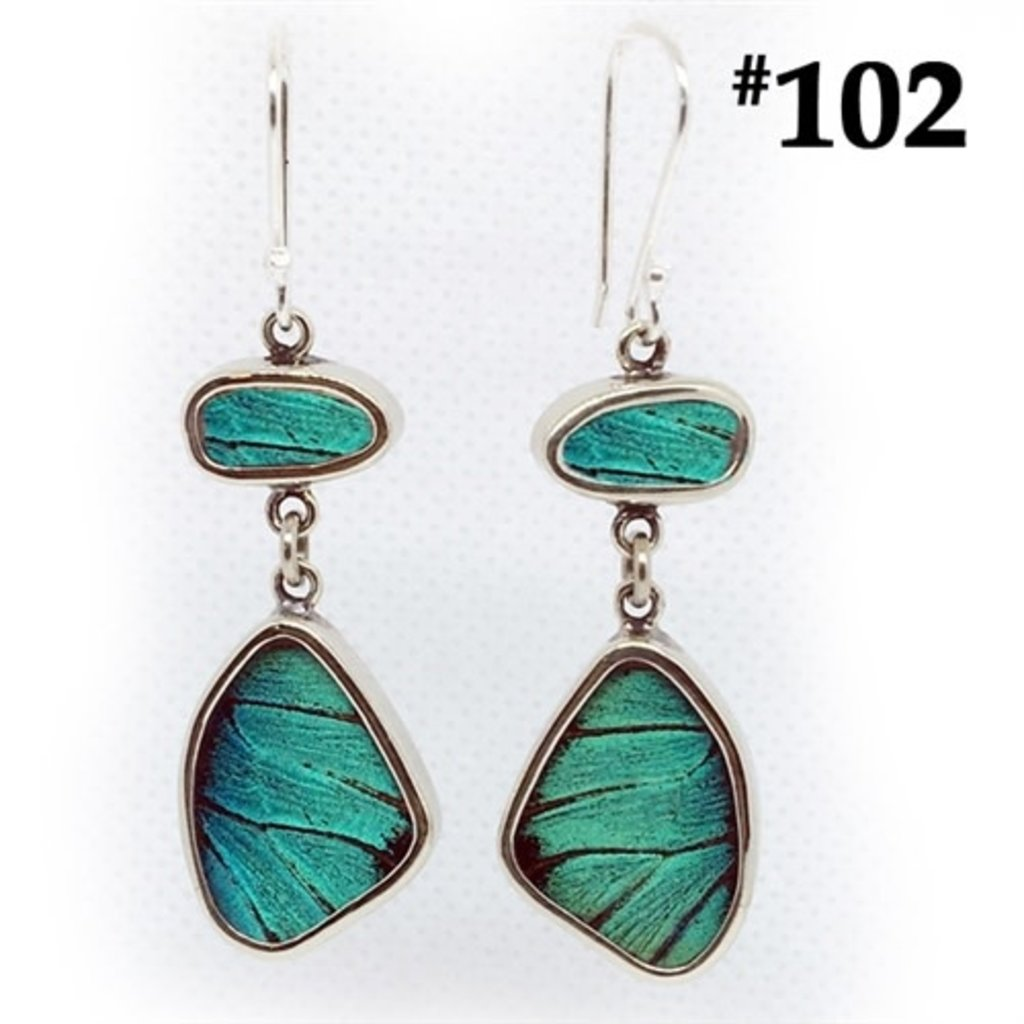 Silver Tree Designs Butterfly Wing Flutter Earrings - Prepona
