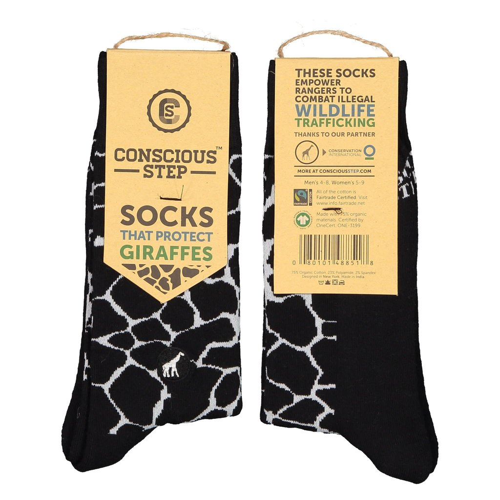 Conscious Step Socks That Protect Giraffes: Black & White Small