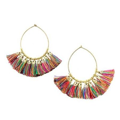 World Finds Raja Rainbow Tassel Hoop Earrings