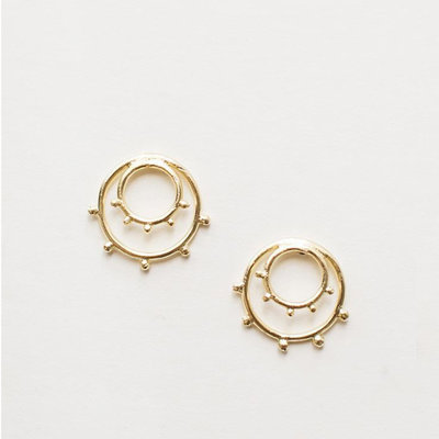 Mata Traders Sunburst Gold Stud Earrings
