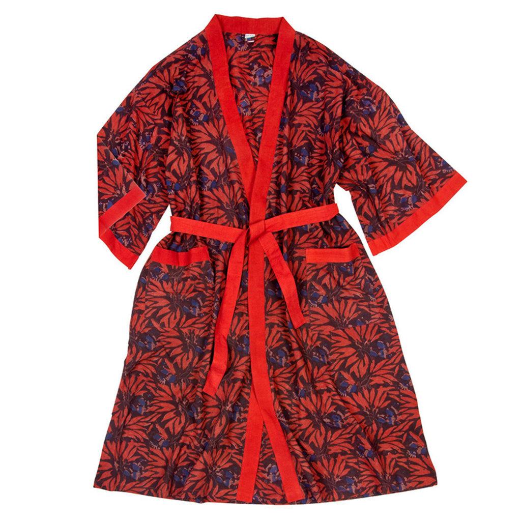 Ten Thousand Villages Floral Blockprint Cotton Robe